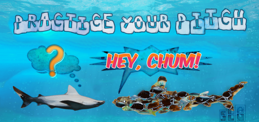 "Fish Pretending to be a Shark asking ""Hey Chum!"" to a Real Shark saying Practice Your Pitch"