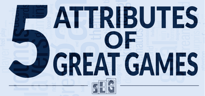 Blue Gaming Word Cloud Header for 5 Attributes of a Great Game with Streamlined Gaming Logo