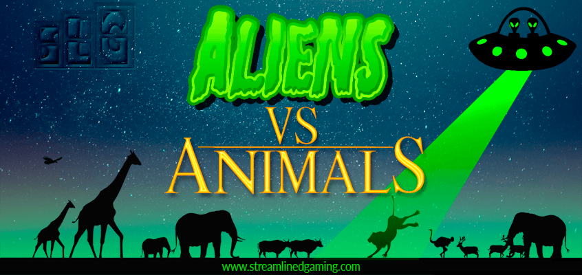 Aliens Versus Animals Banner Image Lion being abducted by Aliens while other animals watch