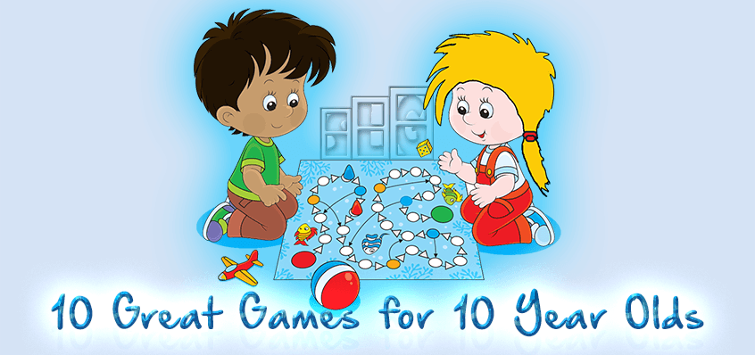 "Young Boy and Girl playing a board game caption ""10 Great Games for 10 Year Olds"""