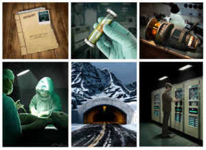 "6 pieces of art from the game ""Above Top Secret"" by James Colmer. Features secretive people and lab documents"