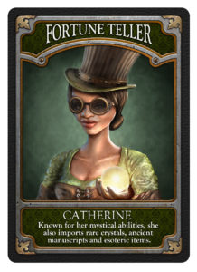 "Art image called ""Fortune Teller"" by James Colmer from his game ""Ravenwood"". Green background with a woman in green clothes wearing a hat and steampunk glasses"