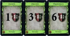 Victory Point Cards from the game Dominion