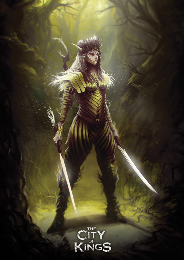 Female character with yellow leather armor and two swords from The City of Kings tabletop game