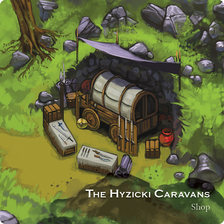 The Hyzicki Caravans shop tile for The City of Kings tabletop game