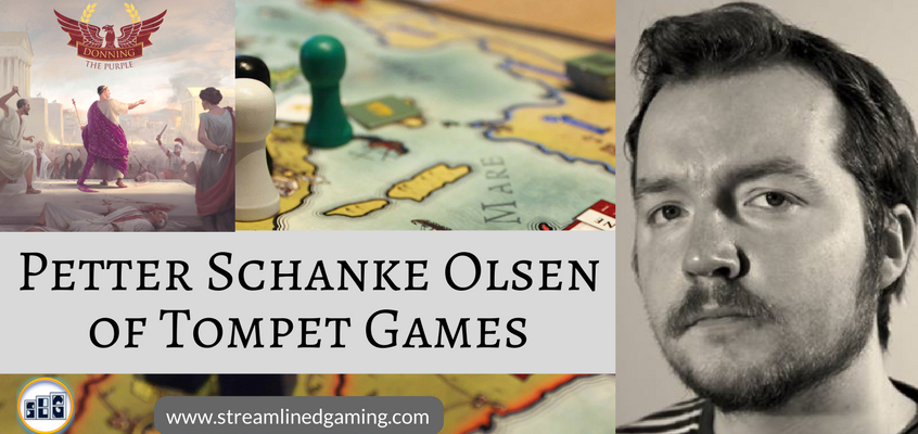 Game Designer Petter Schanke Olsen black and white picture in the right hand section of the image. With Streamlined Gaming's logo and url in the bottom. An Image of Petter's game called Donning the Purple in the background with the image of his board game box in the far left