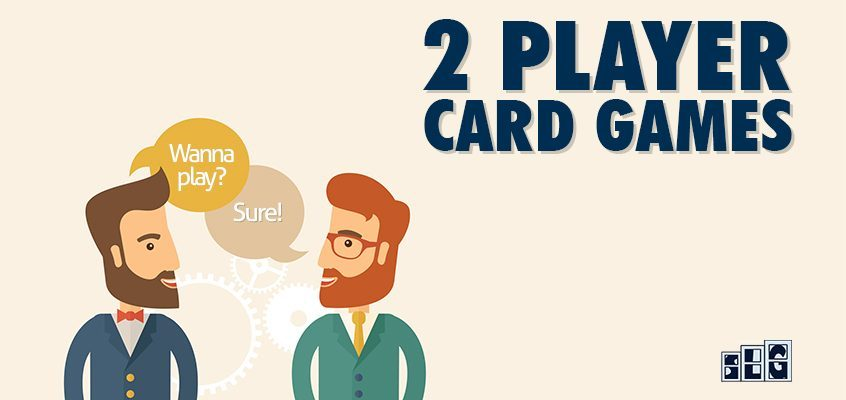2 board gamers asking each other to play 2 player card games - landscape style image for Streamlined Gaming