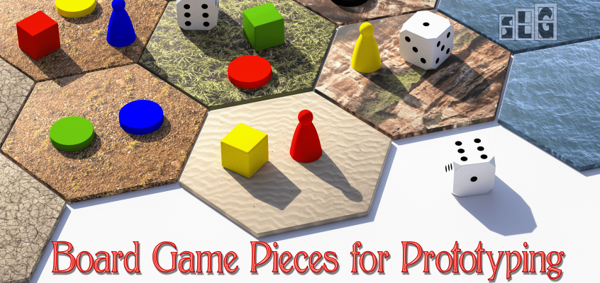 Colorful Board Game Pieces on tiles with dice on the tiles as well for Streamlined Gaming's post featuring different board game pieces